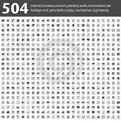Free 504 Icons With Shadow Royalty Free Stock Photo - 29535235