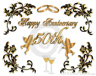 50th Wedding Anniversary Picture Frames On Royalty Free Stock Image Invitation 3d