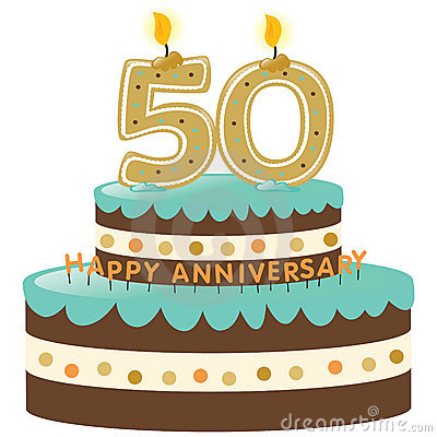 50th Anniversary Cake With Candles Cartoon Vector