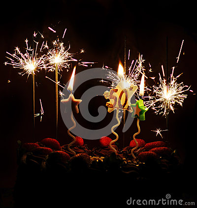 50th Birthday Celebration Cake Sparklers Candles Stock