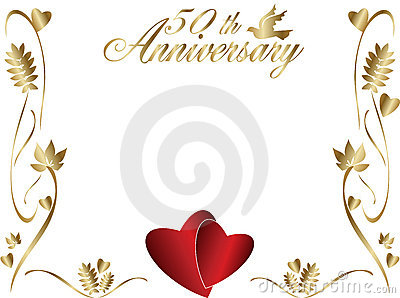 50th Wedding Anniversary Picture Frames On Home Royalty Free Stock Photo Border