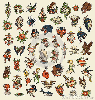 Free 52 Hand Drawn Old School Tattoo Icon Vector Image Set Royalty Free Stock Photos - 138502868