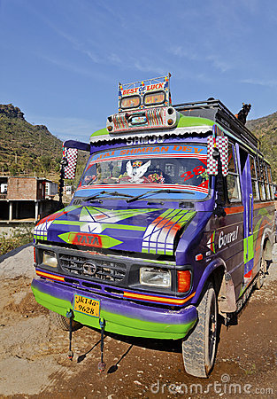 5401 FF RF Colorful Northern Indian Passenger Bus Editorial Stock Image
