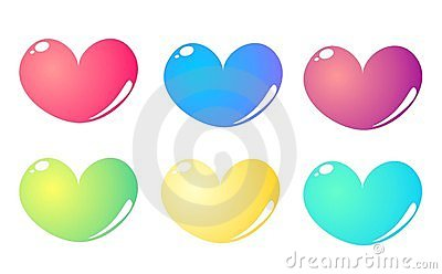 6 colorful hearts set isolated on white background