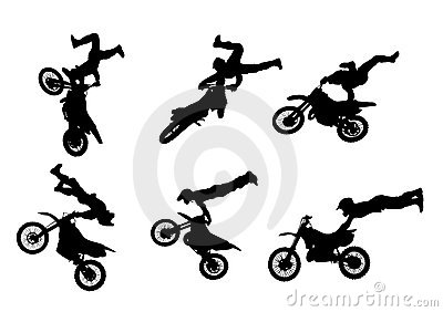 6 high quality freestyle motocross silhouettes