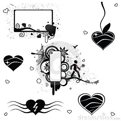 6 vector Valentine abstract elements
