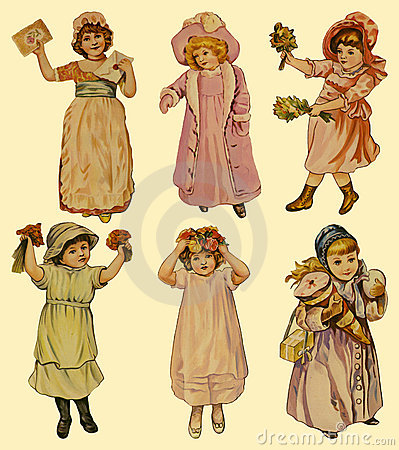 Free 6 Vintage Paper Dolls Royalty Free Stock Images - 3298959