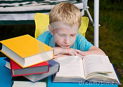 6-year boy reading book