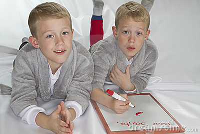 6 years old identical twins writing letter to Sant