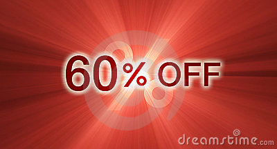 60 percentage off discount red banner
