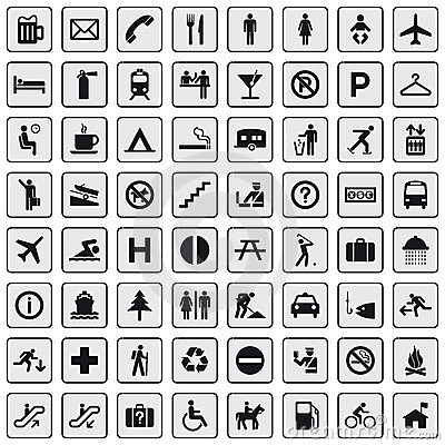 Free 64 Different Icons, Pictogram - Grey Royalty Free Stock Photos - 13617878