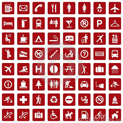 Free 64 Different Icons, Pictogram - Red Royalty Free Stock Images - 13617889