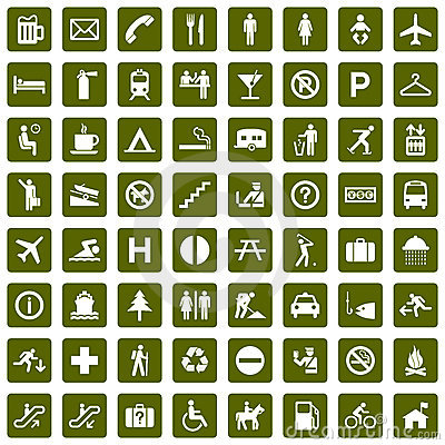 Free 64 Different Pictograms Green Royalty Free Stock Photo - 8087235
