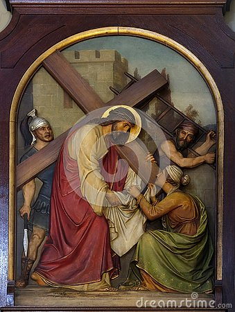 Free 6th Stations Of The Cross, Veronica Wipes The Face Of Jesus Royalty Free Stock Photography - 132002847
