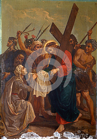 Free 6th Stations Of The Cross, Veronica Wipes The Face Of Jesus Royalty Free Stock Images - 83756869