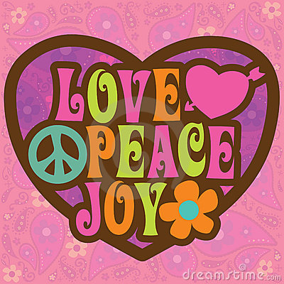 70s Love Peace Joy Illustration