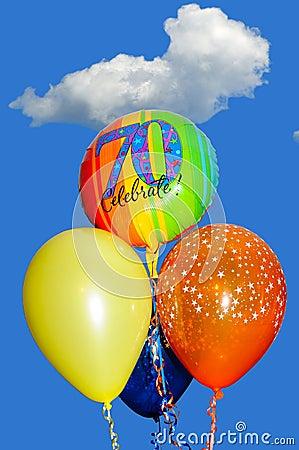 70th Birthday balloons.