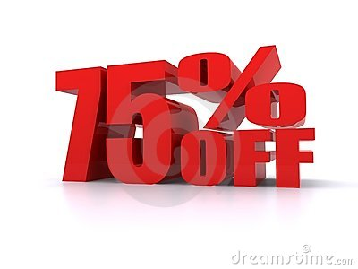 75  Percent off promotional sign