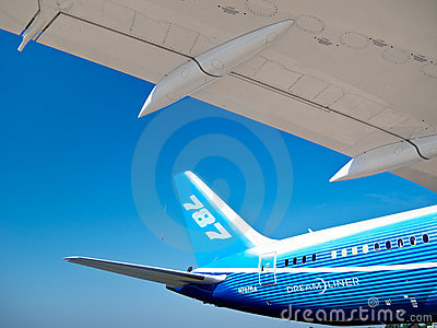 787 - Tail and wing of Dreamliner Editorial Photography