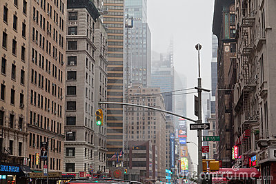 7th Avenue under the Fog New York City Editorial Image
