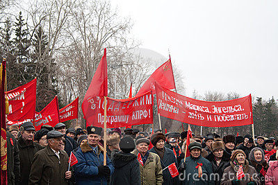 7th of November communist demonstration Editorial Stock Image