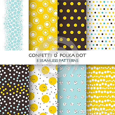 Free 8 Seamless Patterns - Confetti And Polka Dot Royalty Free Stock Photo - 42913515