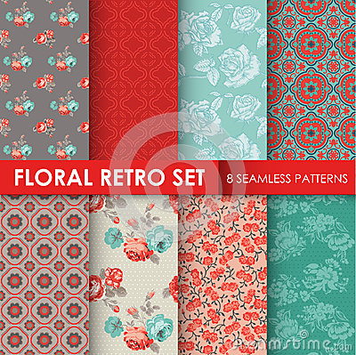 Free 8 Seamless Patterns - Floral Retro Set Stock Photo - 43340860
