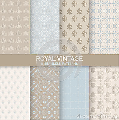 Free 8 Seamless Patterns - Royal Vintage Set Stock Photos - 44292333