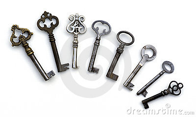 8 skeleton antique keys isolated