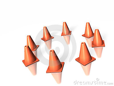 8 traffic cones in a circle