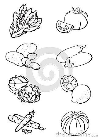 Free 8 Vegetables - Black  N White Royalty Free Stock Images - 6277629