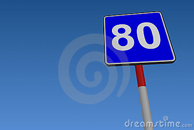 80 Speed Limit Road Sign