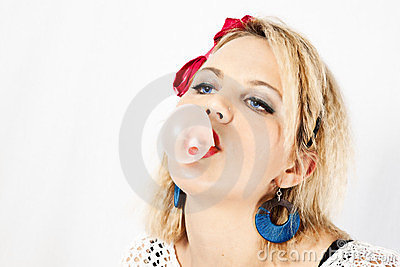 80s girl blowing bubble gum