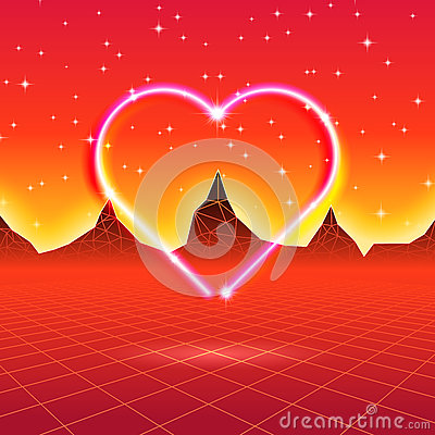 Free 80s Styled Retro Futuristic Card With Neon Heart In Computer Wor Stock Photography - 85128292