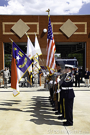 9 11 Ceremony Honor Guard with Colors Editorial Image