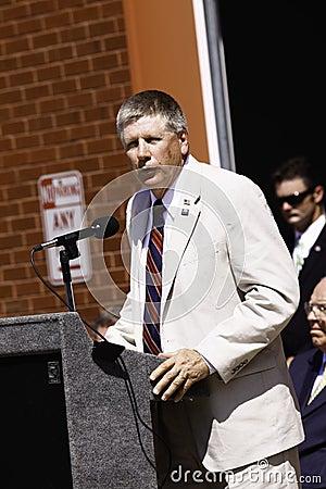 9 11 Ceremony Speaker Congressman Larry Kissel Editorial Photography
