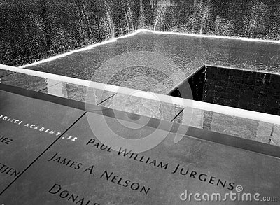 9/11 Memorial Fountain In New York Editorial Photo