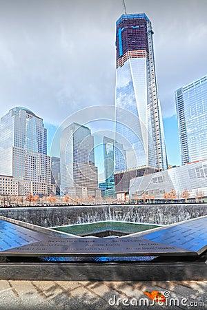 9/11 memorial fountains Editorial Stock Photo