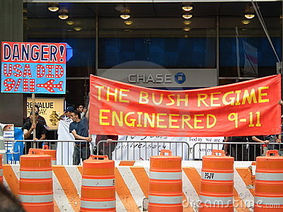 9/11. Protest against Bush administration Editorial Stock Photo