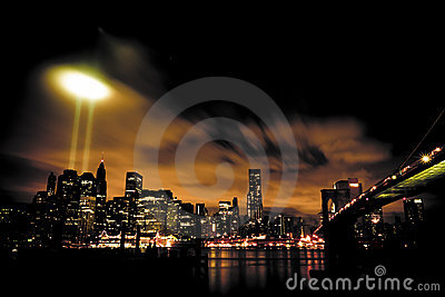 9/11 Tribute In Light Panorama Editorial Stock Image