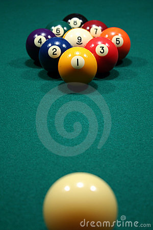 Free 9-Ball Rack Of Billiard Balls. Stock Photography - 722082