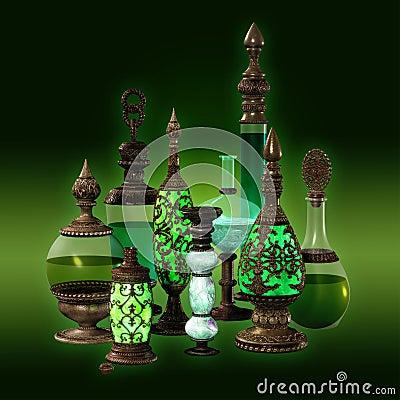 9 bottles in green colors