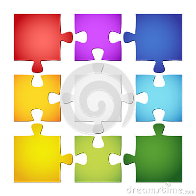 Free 9 Colored Puzzle Pieces Stock Image - 41265781