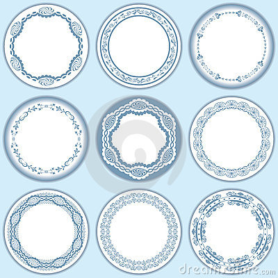 9 feminine blue labels set