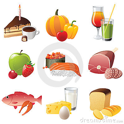 Free 9 Highly Detailed Food Icons Stock Photography - 20036822