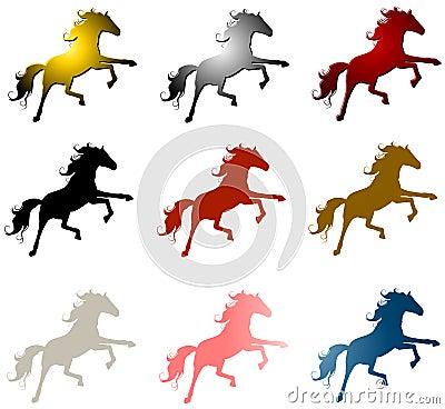 9 HORSE STALLIONS CLIP ART