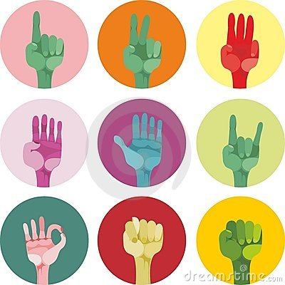 9 icons with different gestures in vector
