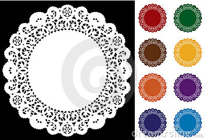 9 Lace Doilies, Bright Colors