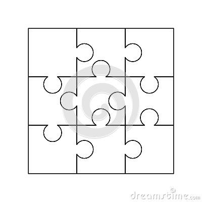 Free 9 White Puzzles Pieces Arranged In A Square. Jigsaw Puzzle Template Ready For Print. Cutting Guidelines On White Stock Photography - 123568102