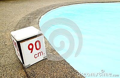 90 cm. water depth sign